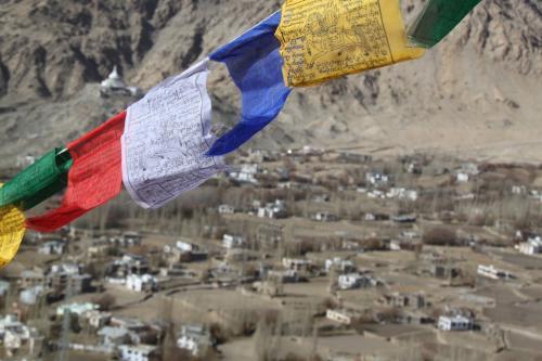 Ladakh - Gebedsvlaggen Tsemo Gompa