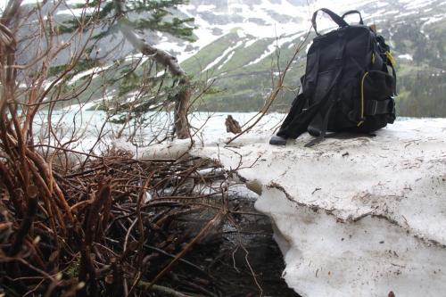 Glacier NP - rugzak in sneeuw Grinell